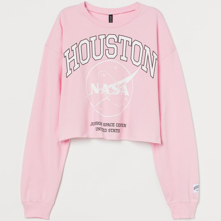 Women's Pink Nasa Premium Cropped Cotton Sweatshirt - From Nasa Depot - The #1 Nasa Store In The Galaxy For NASA Hoodies | Nasa Shirts | Nasa Merch | And Science Gifts