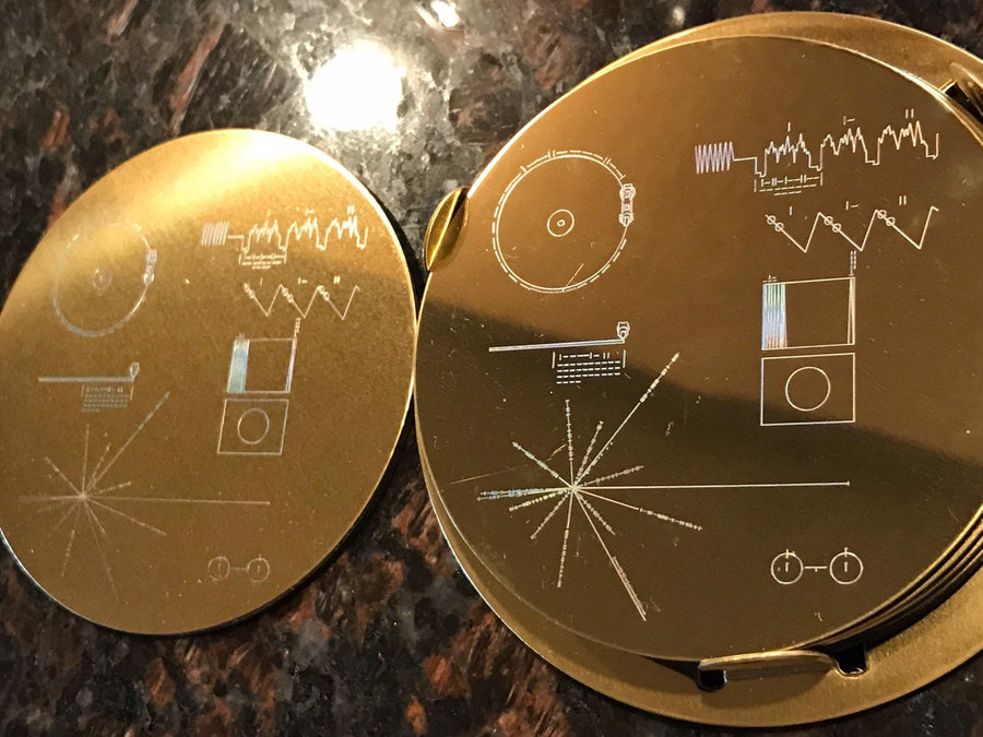 Voyager Gold Record Laser Etched Steel Coasters (set of 6 with holder) - Nasa Depot