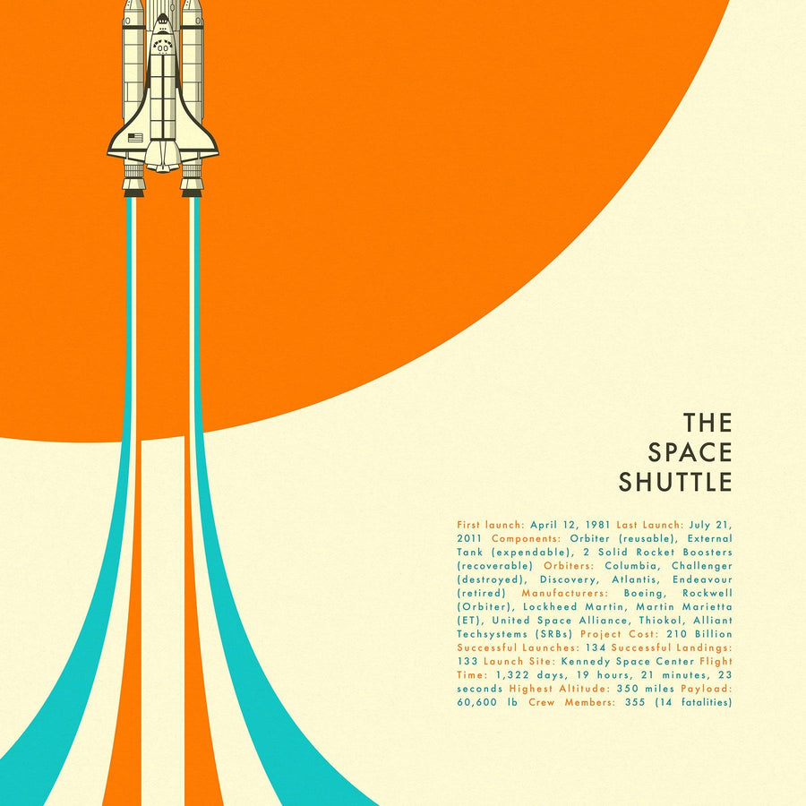 SPACE SHUTTLE (Giclée Fine Art Print) Minimal NASA Pop Art (Unframed) - Nasa Depot