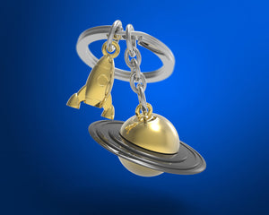 Metalmorphose 3D Outer Space Saturn RocketShip Keychain - Nasa Depot