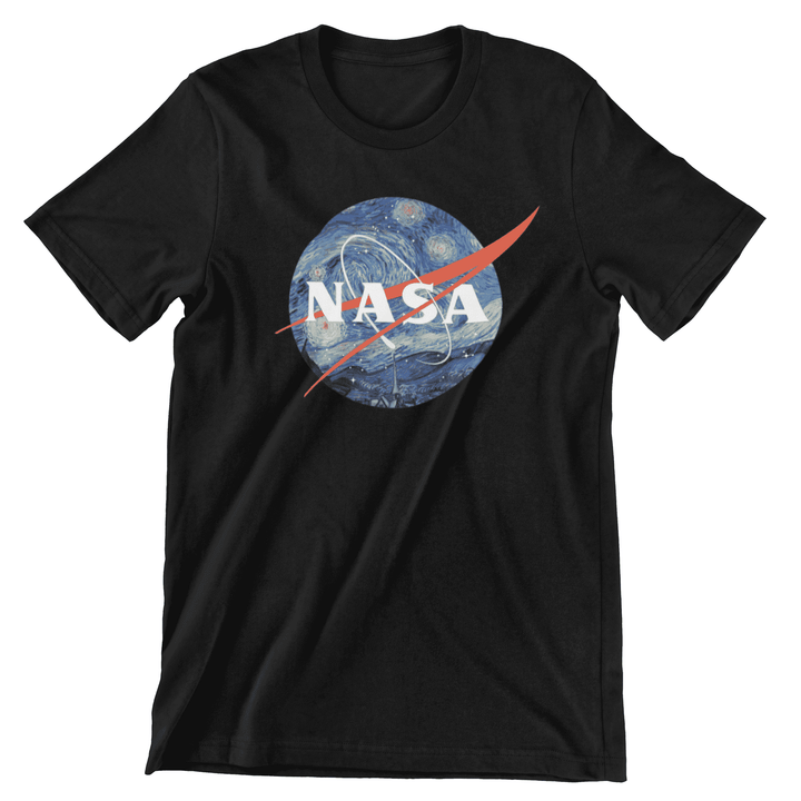 Starry Night NASA Short Sleeve Premium Cotton T-Shirt - From Nasa Depot - The #1 Nasa Store In The Galaxy For NASA Hoodies | Nasa Shirts | Nasa Merch | And Science Gifts