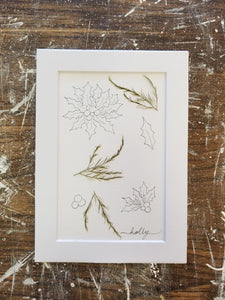 "December Birth Flower- Holly- 5"" x 7"""