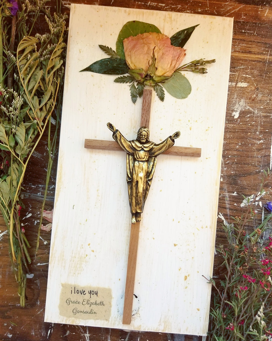 Crucifix with Mini Flower Arrangement- 7