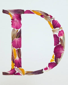 "Custom Paper Press- Floral Initial on Paper with Matting- 11"" x 14"""