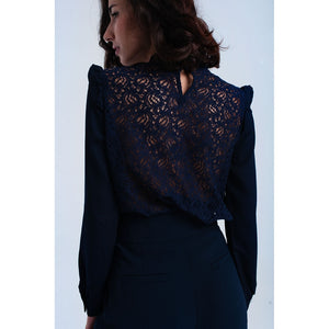 Navy shirt with lace and ruffle - Riseatop.store