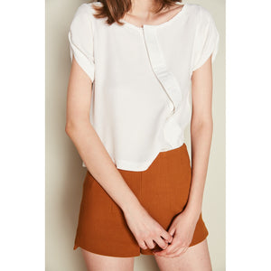 White Asymmetric Button Down Top - Riseatop.store