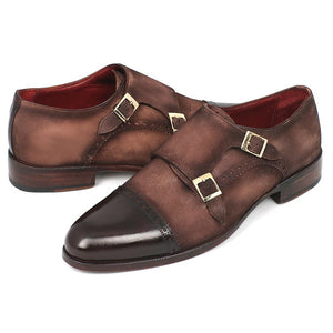 Paul Parkman Men's Double Monkstrap Captoe Dress Shoes - Brown / Beige Suede Upper and Leather Sole (ID#FK09) - Riseatop.store