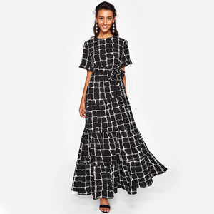 Frilled Sleeve Brush Stroke Grid Tiered Plaid Dress - Riseatop.store