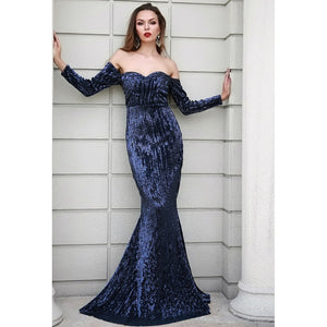 Navy Off Shoulder Sequin Gown - Riseatop.store