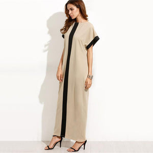 Loose Round Neck Short Sleeve Maxi Dress - Riseatop.store