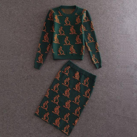 Kangaroo Print Knitted Wool Sweater and Pencil Skirt Set - Riseatop.store