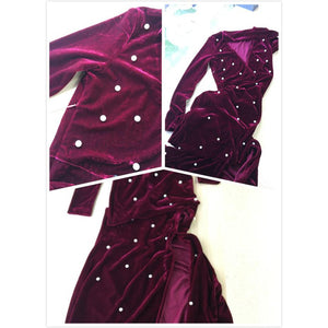 Sexy Burgundy V Neck High Slit Plunging Velvet A Line Dress With Neck Tie - Riseatop.store