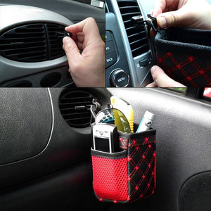 Car Air Vent Mount Net Storage Bag for Mobile Phone Sunglasses Pen Ticket Card Auto Organizer Hanging Bag Holder Accessories