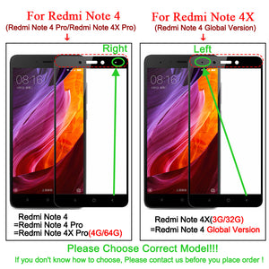 Full Cover Tempered Glass For Xiaomi Redmi 4 4A 4Pro 4 Prime Redmi Note 4X Pro Note 4X Colorful Screen Protector Toughened Film - Riseatop.store
