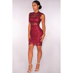 Elegant Burgundy Black Lace Dress - Riseatop.store