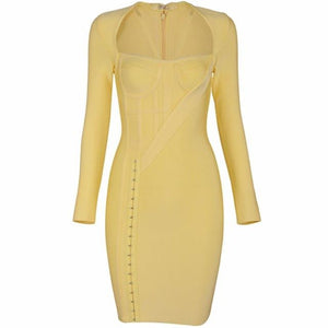 Yellow Long Sleeve Dress Bodycon - Riseatop.store