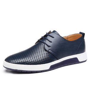 Men Casual Shoes Leather Summer Breathable Holes - Riseatop.store