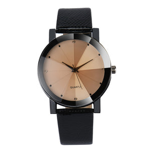 Quartz Stainless Steel Dial Leather Band Wristwatch - Riseatop.store