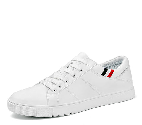 Men Summer White Round Toe Lace up Flat Sneakers