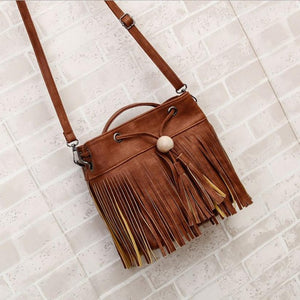 BOHO Leather Tassel and Fringe Shoulder Bag