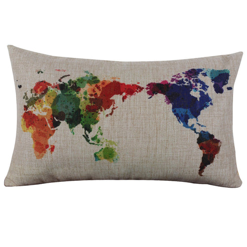 Watercolor Splattered World Map Decorative Pillow Cover