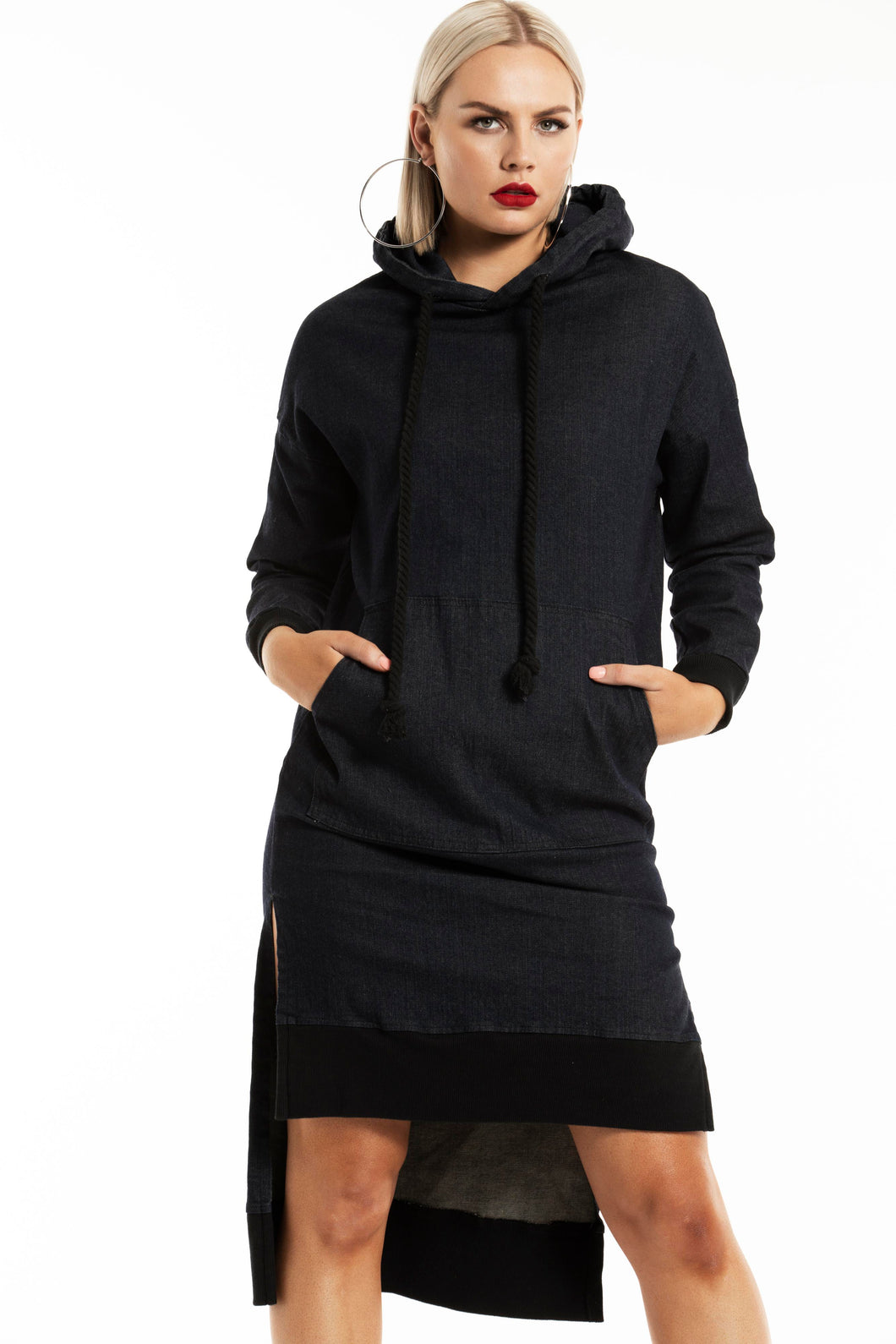 LONGLINE STEP HEM DENIM HOODIE DRESS