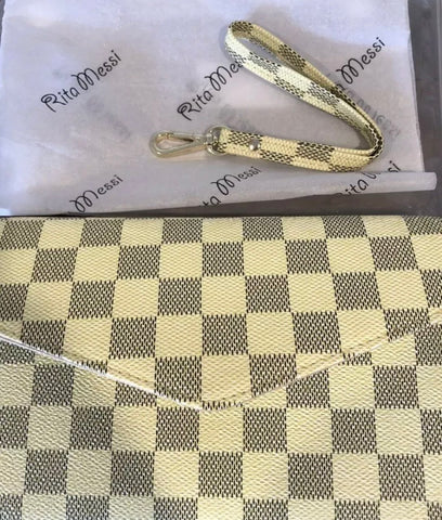Large Cream or Brown Checkered Wallet/Purse