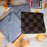 Rita Messi Brown Checkered Leather Coin Pouch