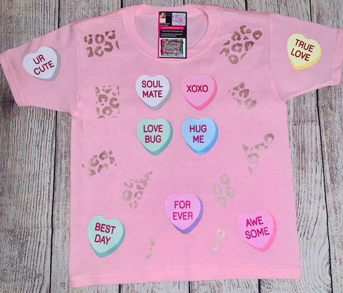 Valentine Candy Hearts and Leopard Bleached or Solid Shirt