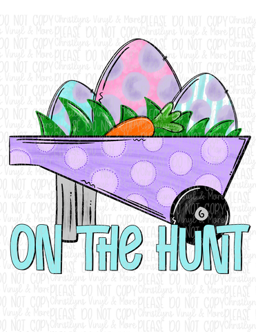 On The Hunt Bunny Easter Sublimation Transfer or Berry Bleached Tee
