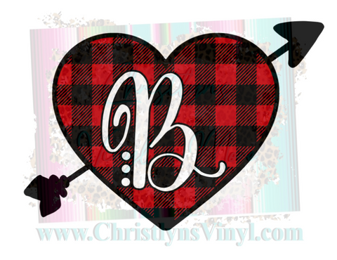Buffalo Plaid Initial Valentines Sublimation Transfer
