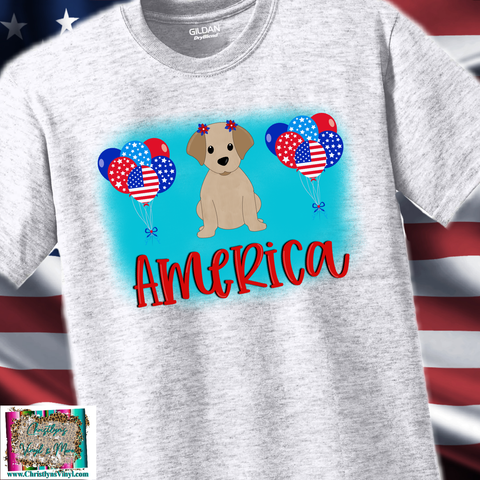 America Dog Ballons 4th of July Sublimation Transfer or Ash Grey Tee