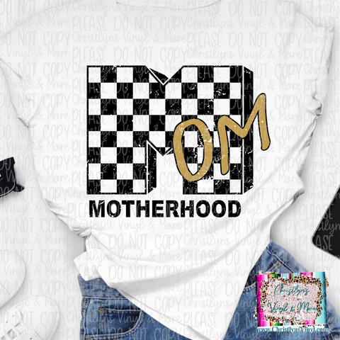 Motherhood Black Checkered Mom Sublimation Transfer or White Tee