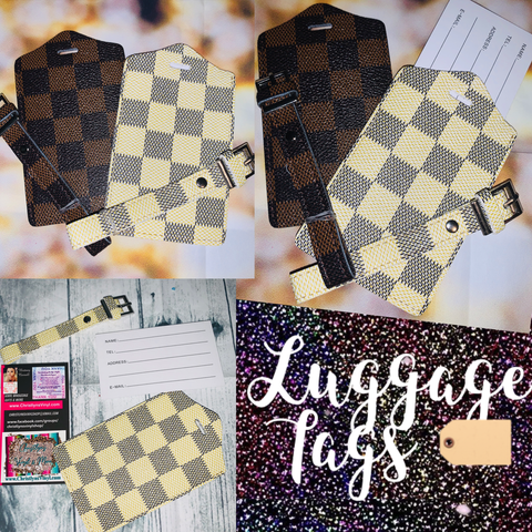 Checkered Leather Brown or Cream Luggage Tags Rita Messi