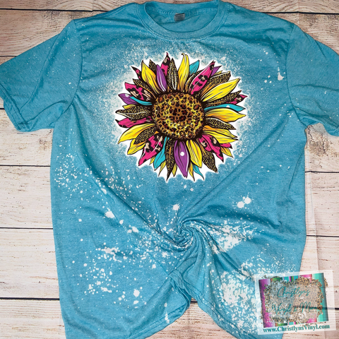 Sunflower Cheetah Rainbow Bleached Tee or Sublimation Transfer