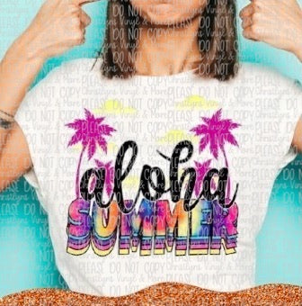 Aloha Summer Stacked Sublimation Transfer or White Tee