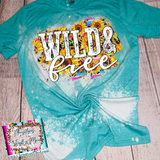 Wild and Free Sunflower Bleached Tee or Sublimation Transfer