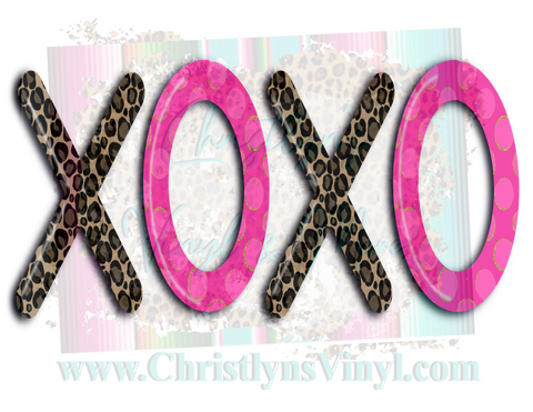 Xoxo Cheetah Pink Valentines Sublimation Transfer