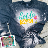 Hello Spring Sublimation Transfer or Bleached Tee