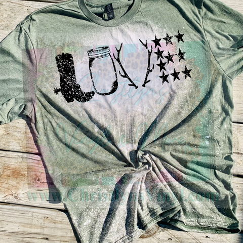 Country Love Boot Bleached or Solid Shirt Transfer Sublimation