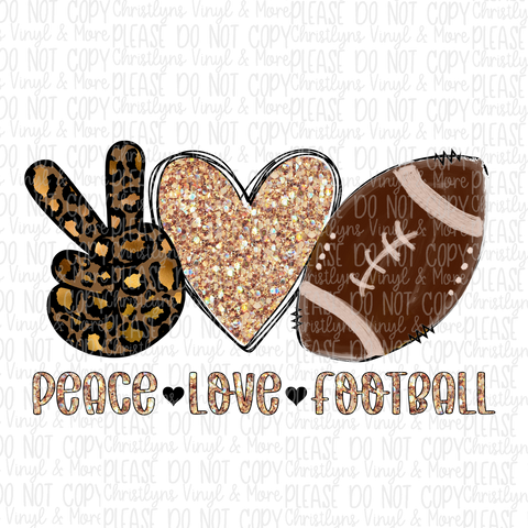 Peace Love Football Leopard Glitter Sublimation Transfer
