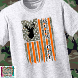 Buck Off Camo Hunting Flag Sublimation Transfer or Ash Grey Tee