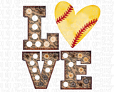 L͏o͏v͏e Baseball Softball Bulbs Sublimation Transfer