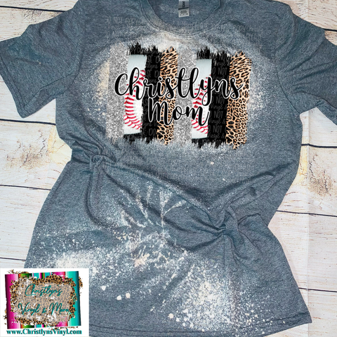Baseball Cheetah Brushstrokes Custom or Blank Sublimation Transfer or Bleached Tee
