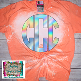 Holographic Monogram Custom Sublimation Transfer or Completed Tee