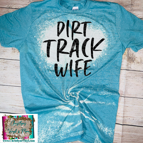 Dirt Track Wife Dirtbike Blue Bleached Tee or Sublimation Transfer