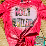 Holy Hustler Ombre Cheetah Sublimation Transfer or Red Bleached Tee