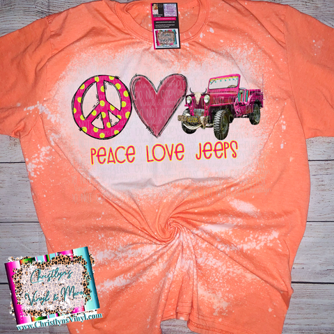 Peace Love Jeeps Bleached Orange Tee or Sublimation Transfer