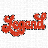 Legend Legacy Red Retro Matching White Tees or Sublimation Transfer