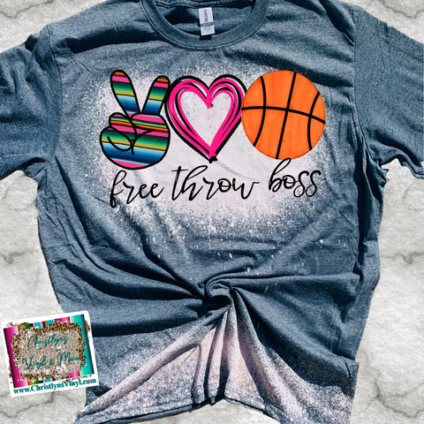 Free Throw Boss Peace Love Basketball Serape Sublimation Transfer or Bleached Tee